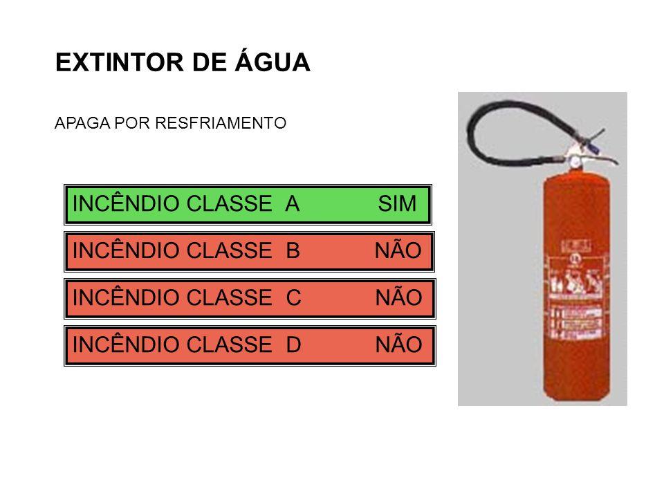 EXTINTOR DE ÁGUA APAGA POR RESFRIAMENTO INCÊNDIO CLASSE A SIM INCÊNDIO CLASSE B NÃO INCÊNDIO CLASSE C NÃO INCÊNDIO CLASSE D NÃO