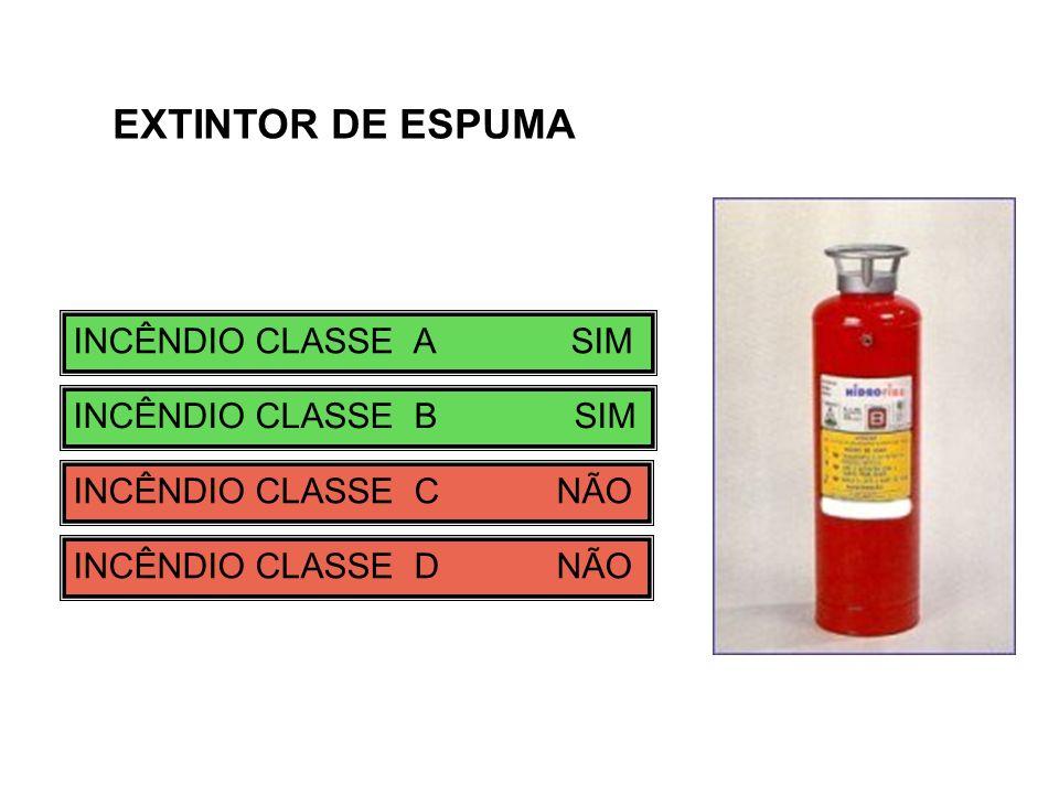 INCÊNDIO CLASSE A SIM INCÊNDIO CLASSE B SIM INCÊNDIO CLASSE C NÃO INCÊNDIO CLASSE D NÃO EXTINTOR DE ESPUMA