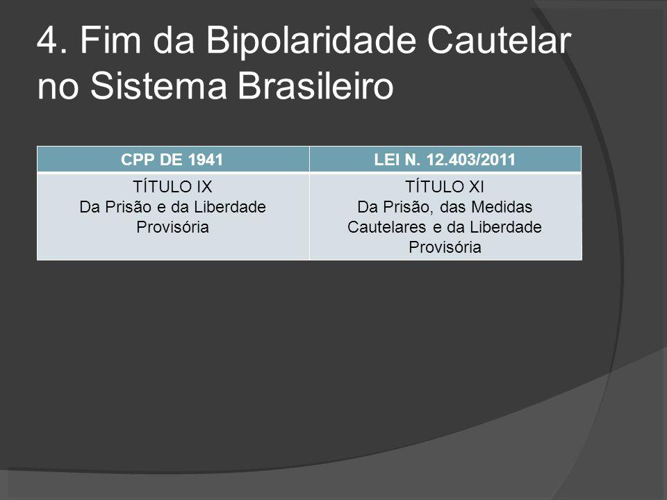 4. Fim da Bipolaridade Cautelar no Sistema Brasileiro CPP DE 1941LEI N.