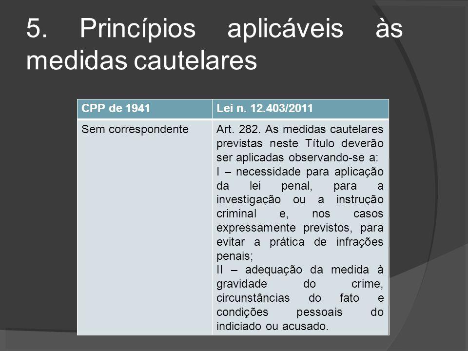 5. Princípios aplicáveis às medidas cautelares CPP de 1941Lei n.