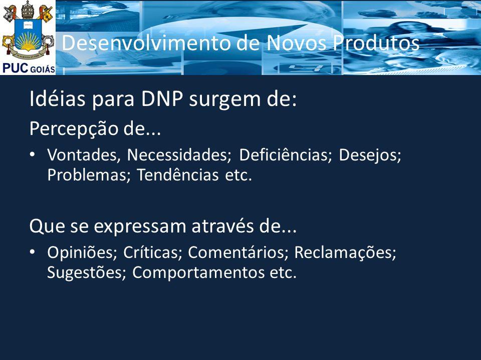 Desenvolvimento de Novos Produtos Idéias para DNP surgem de: Percepção de...