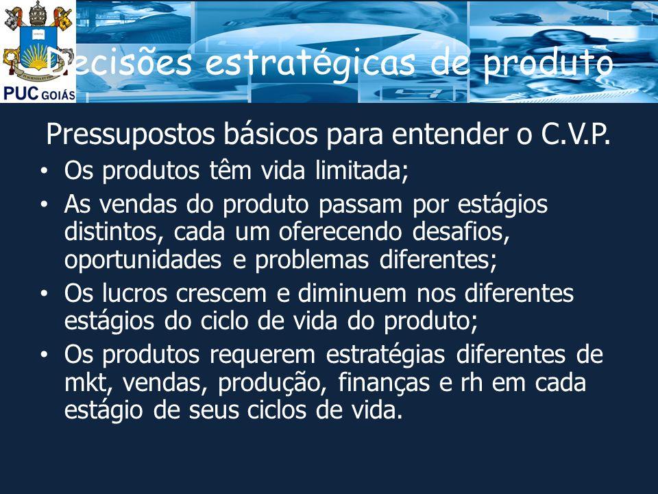 Decisões estrat é gicas de produto Pressupostos básicos para entender o C.V.P.