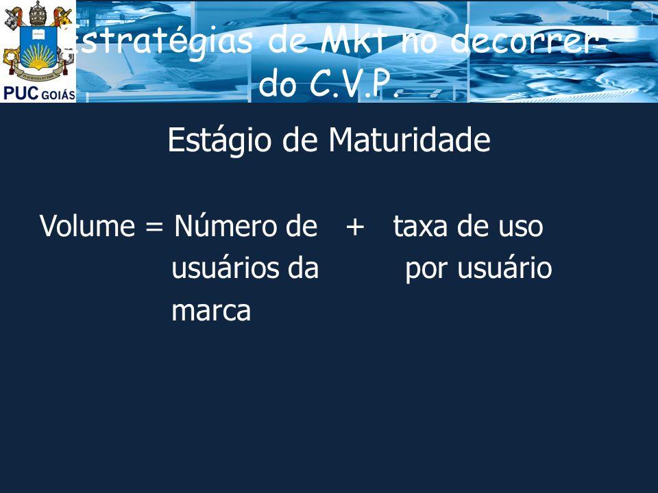Estrat é gias de Mkt no decorrer do C.V.P.