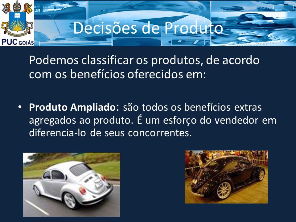 Decisões de Produto Podemos classificar os produtos, de acordo com os benefícios oferecidos em: Produto Ampliado : são todos os benefícios extras agregados ao produto.