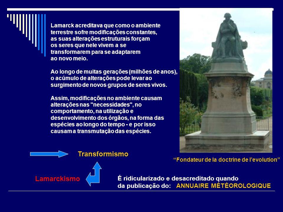 Lamarck acreditava que como o ambiente terrestre sofre modificações constantes, as suas alterações estruturais forçam os seres que nele vivem a se tra