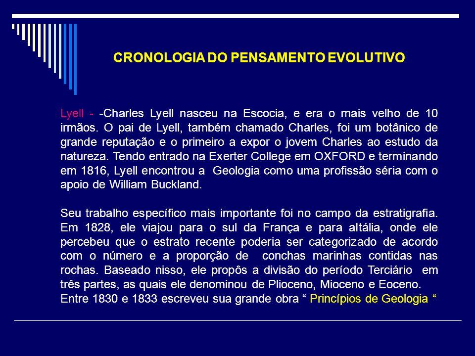 CRONOLOGIA DO PENSAMENTO EVOLUTIVO Lyell - -Charles Lyell nasceu na Escocia, e era o mais velho de 10 irmãos. O pai de Lyell, também chamado Charles,