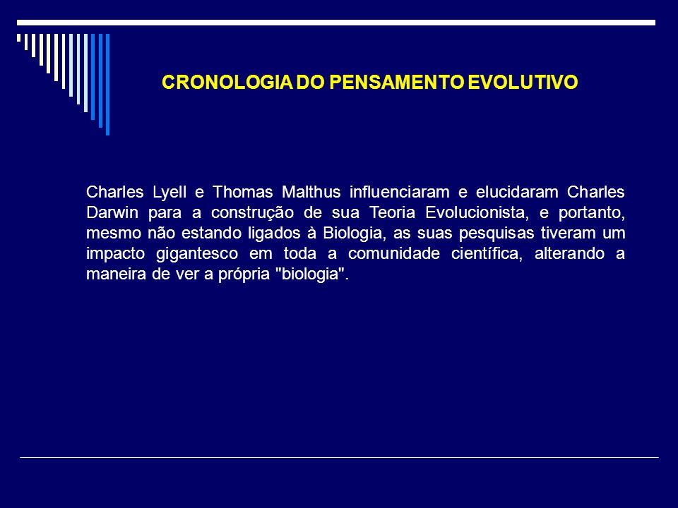 CRONOLOGIA DO PENSAMENTO EVOLUTIVO Charles Lyell e Thomas Malthus influenciaram e elucidaram Charles Darwin para a construção de sua Teoria Evolucioni