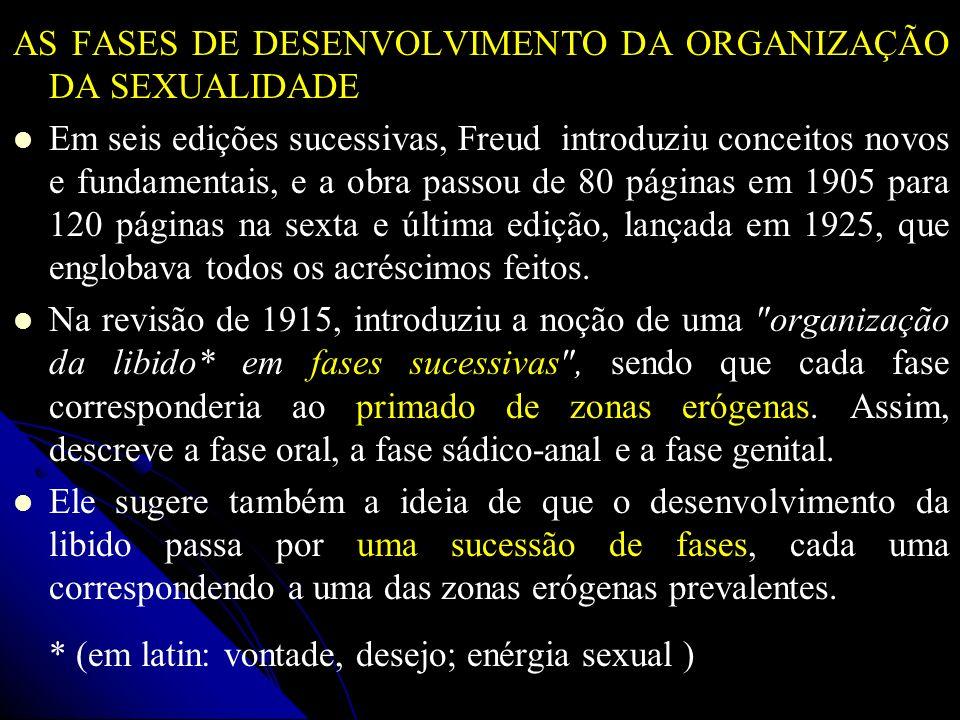 AS FASES DE DESENVOLVIMENTO DA ORGANIZAÇÃO DA SEXUALIDADE Em seis edições sucessivas, Freud introduziu conceitos novos e fundamentais, e a obra passou