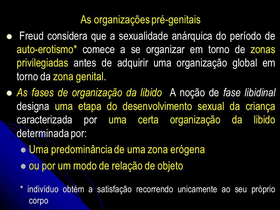 As organizações pré-genitais Freud considera que a sexualidade anárquica do período de auto-erotismo* comece a se organizar em torno de zonas privileg