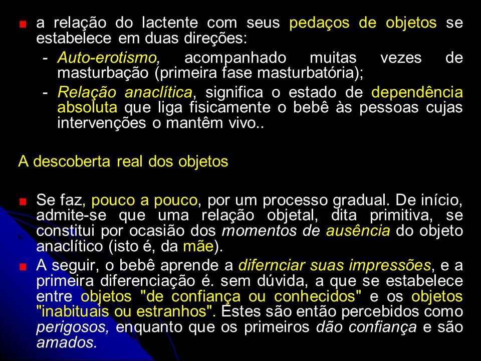 a relação do lactente com seus pedaços de objetos se estabelece em duas direções: -Auto-erotismo, acompanhado muitas vezes de masturbação (primeira fa