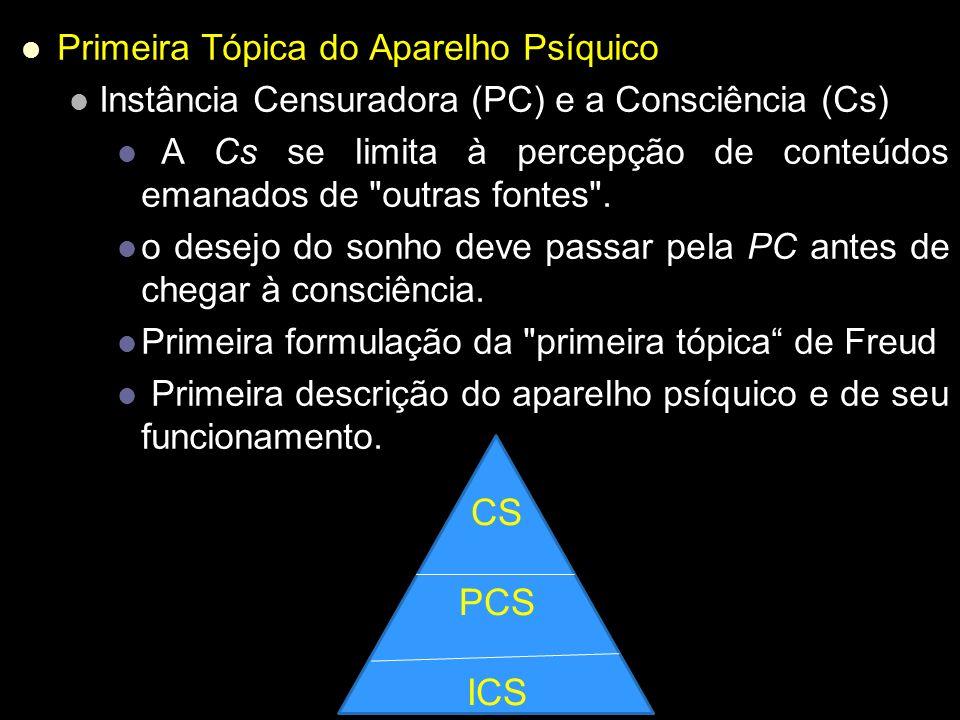 Primeira Tópica do Aparelho Psíquico Instância Censuradora (PC) e a Consciência (Cs) A Cs se limita à percepção de conteúdos emanados de