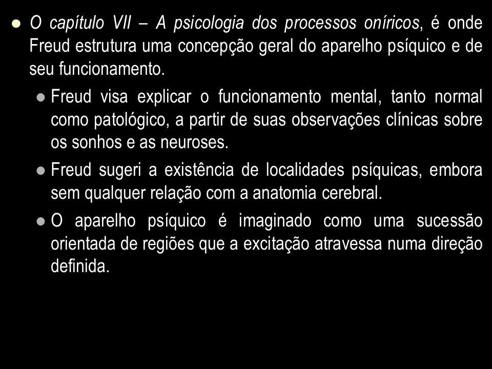 O capítulo VII – A psicologia dos processos oníricos, é onde Freud estrutura uma concepção geral do aparelho psíquico e de seu funcionamento. Freud vi