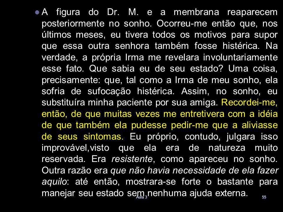A figura do Dr. M. e a membrana reaparecem posteriormente no sonho. Ocorreu-me então que, nos últimos meses, eu tivera todos os motivos para supor que