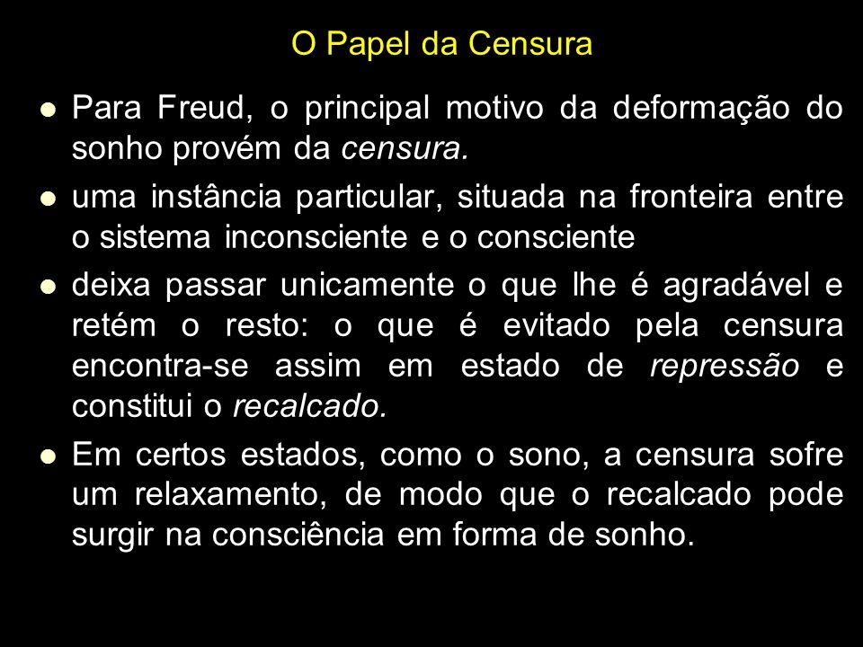 O Papel da Censura Para Freud, o principal motivo da deformação do sonho provém da censura. uma instância particular, situada na fronteira entre o sis