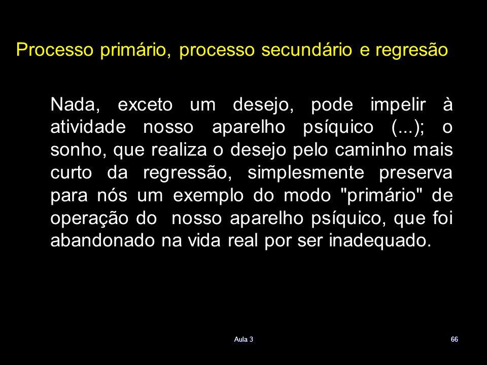 Processo primário, processo secundário e regresão Nada, exceto um desejo, pode impelir à atividade nosso aparelho psíquico (...); o sonho, que realiza