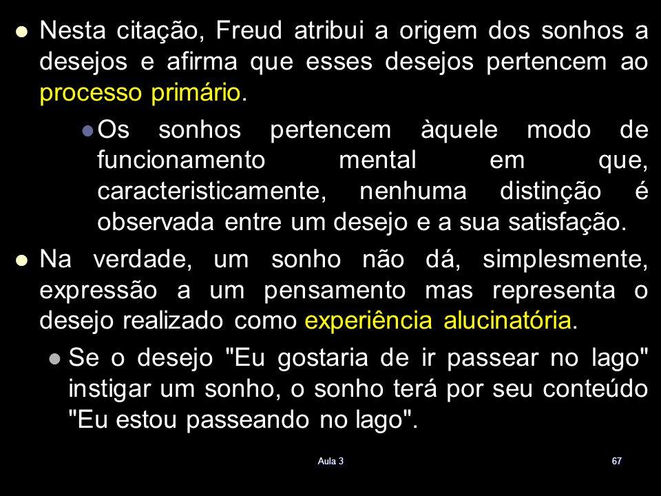 Nesta citação, Freud atribui a origem dos sonhos a desejos e afirma que esses desejos pertencem ao processo primário. Os sonhos pertencem àquele modo
