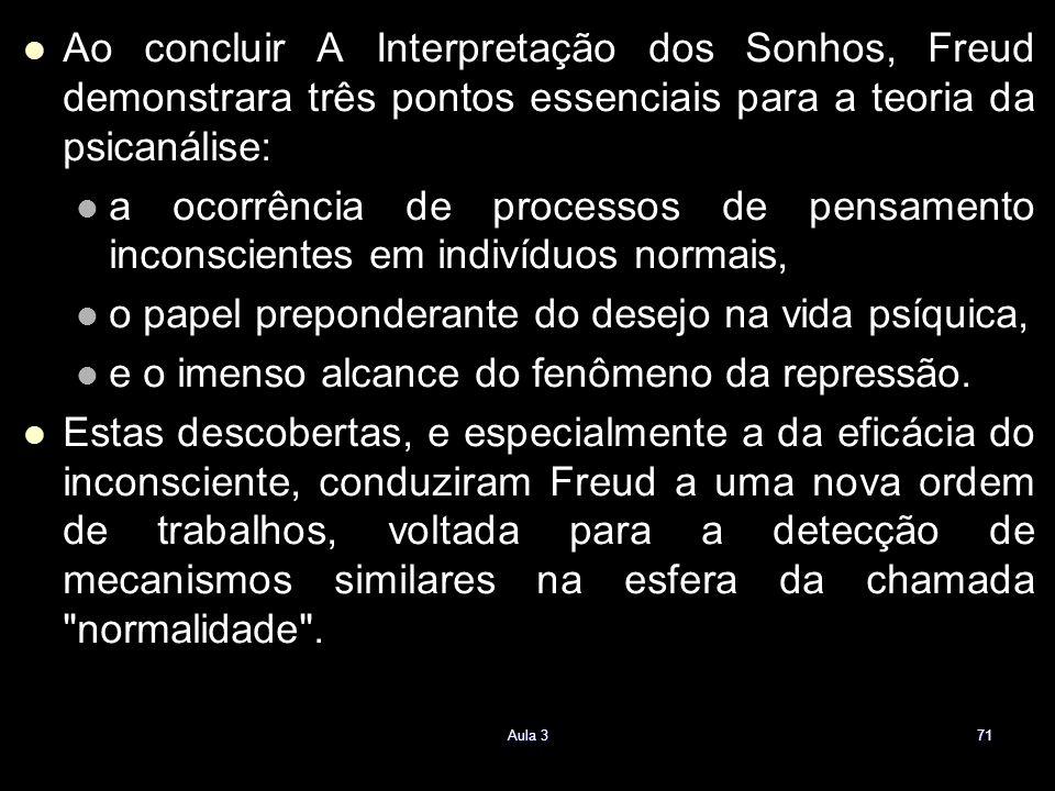 Ao concluir A Interpretação dos Sonhos, Freud demonstrara três pontos essenciais para a teoria da psicanálise: a ocorrência de processos de pensamento