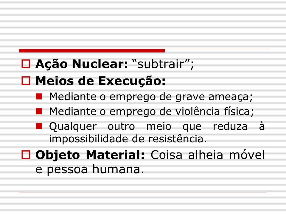 Ação Nuclear: subtrair; Meios de Execução: Mediante o emprego de grave ameaça; Mediante o emprego de violência física; Qualquer outro meio que reduza
