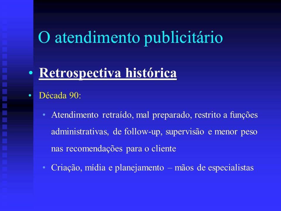 O atendimento publicitário Retrospectiva histórica Década 90: Atendimento retraído, mal preparado, restrito a funções administrativas, de follow-up, s