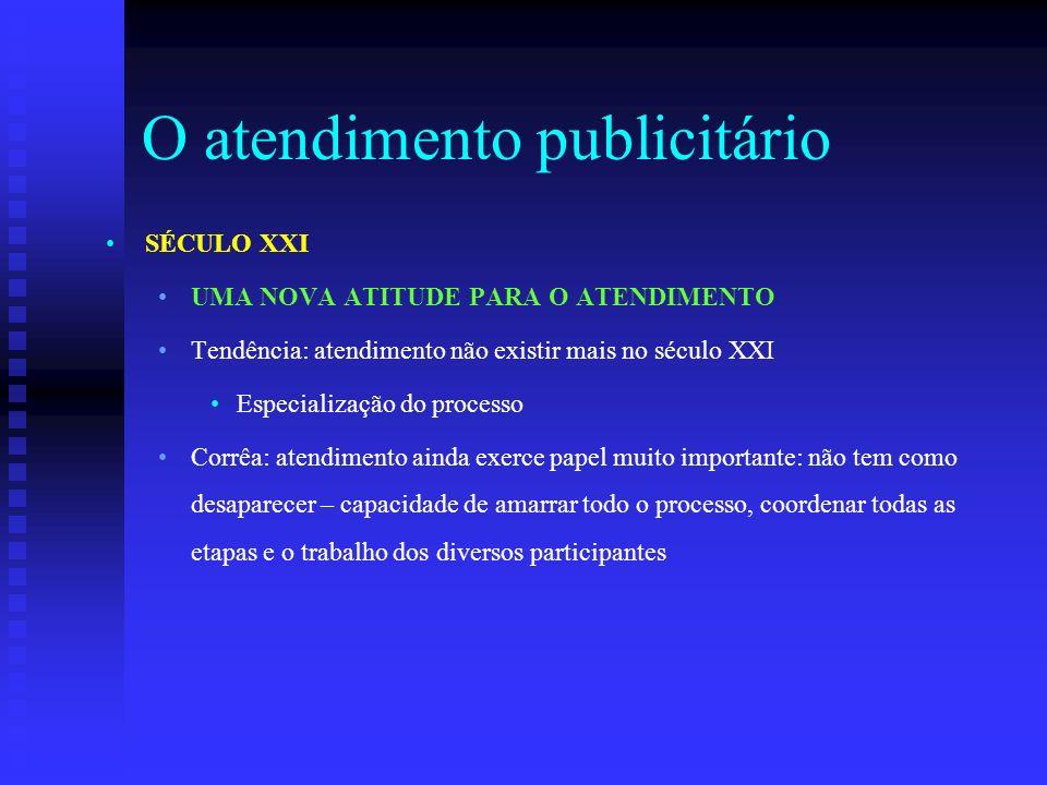 O atendimento publicitário SÉCULO XXI UMA NOVA ATITUDE PARA O ATENDIMENTO Tendência: atendimento não existir mais no século XXI Especialização do proc