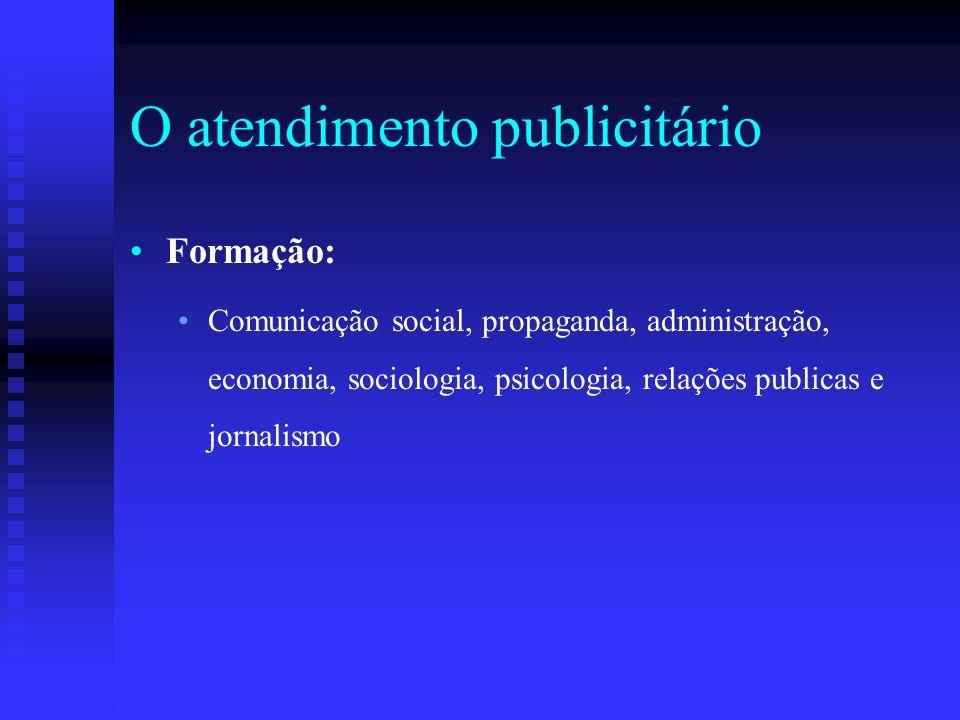 O atendimento publicitário Características: Organização - Iniciativa Pensamento lógico - Bom senso Autocontrole - Jogo de cintura Cultura geral - Expressão oral e escrita