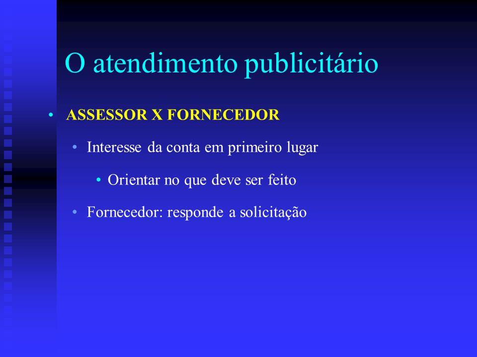 O atendimento publicitário ASSESSOR X FORNECEDOR Interesse da conta em primeiro lugar Orientar no que deve ser feito Fornecedor: responde a solicitaçã