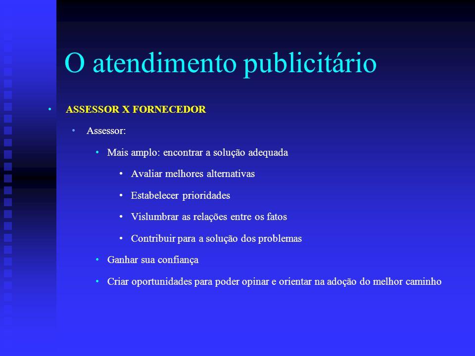 O atendimento publicitário ASSESSOR X FORNECEDOR Assessor: Mais amplo: encontrar a solução adequada Avaliar melhores alternativas Estabelecer priorida