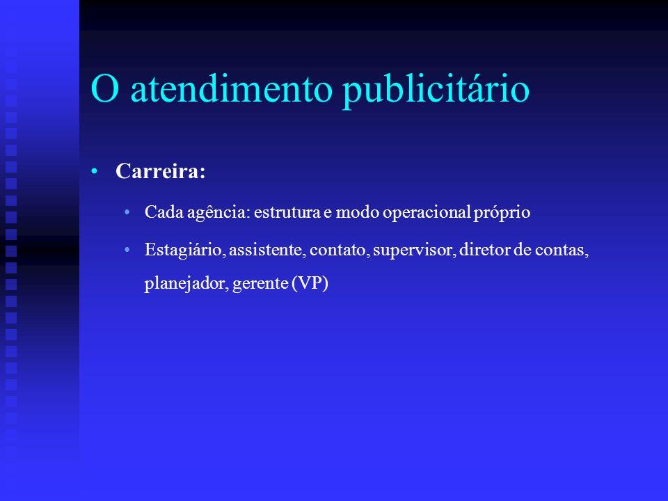 O atendimento publicitário Carreira: Cada agência: estrutura e modo operacional próprio Estagiário, assistente, contato, supervisor, diretor de contas