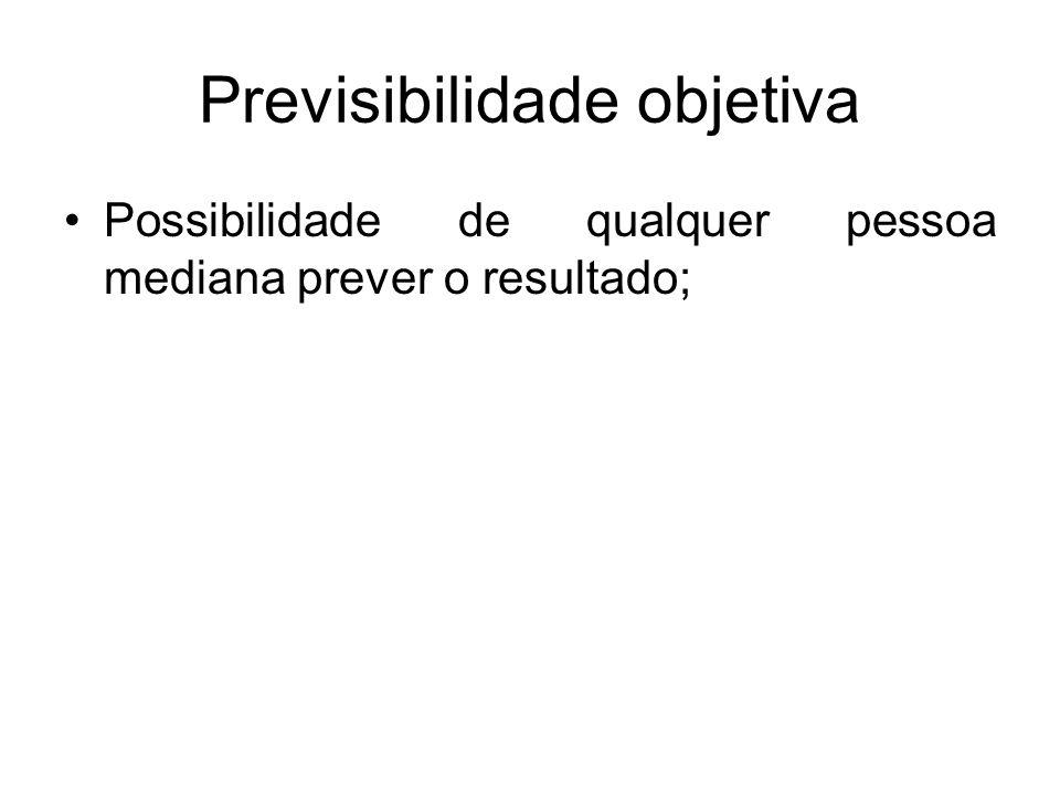 Previsibilidade subjetiva Possibilidade que o agente, dadas as suas condições peculiares, tinha de prever o resultado; (exclui a culpabilidade, mas não a culpa, ou seja, a conduta e o fato típico).