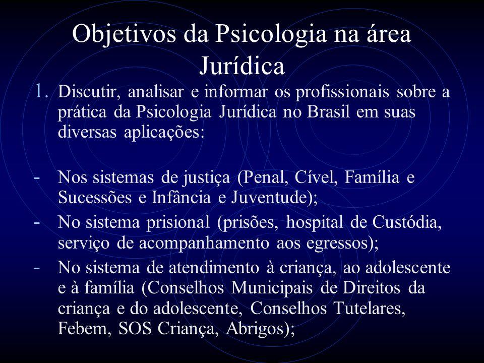 Objetivos da Psicologia na área Jurídica 1. Discutir, analisar e informar os profissionais sobre a prática da Psicologia Jurídica no Brasil em suas di