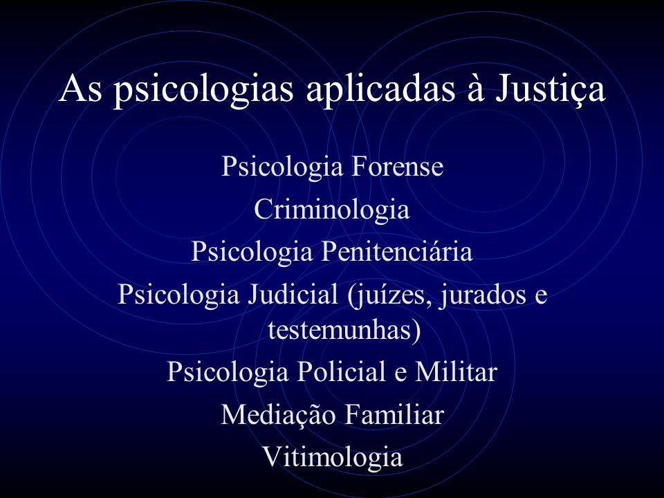 As psicologias aplicadas à Justiça Psicologia Forense Criminologia Psicologia Penitenciária Psicologia Judicial (juízes, jurados e testemunhas) Psicol