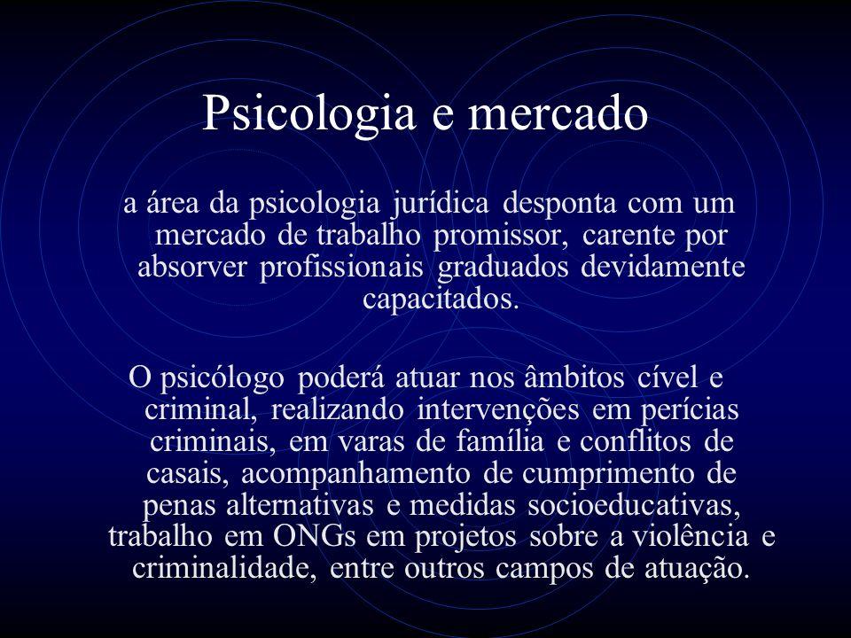 Psicologia e mercado a área da psicologia jurídica desponta com um mercado de trabalho promissor, carente por absorver profissionais graduados devidam