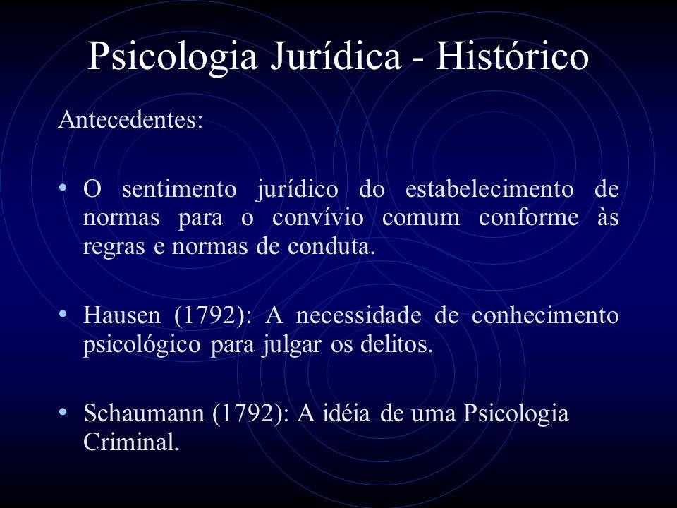 Psicologia Jurídica - Histórico Antecedentes: O sentimento jurídico do estabelecimento de normas para o convívio comum conforme às regras e normas de