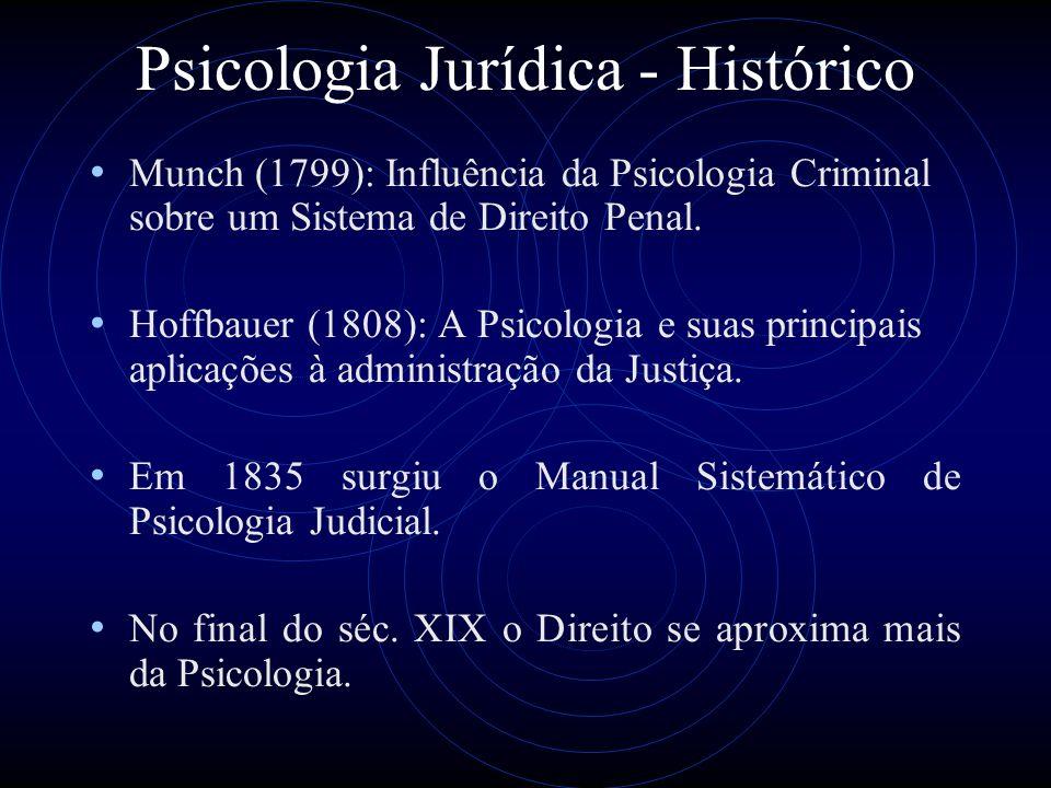 Psicologia Jurídica - Histórico Munch (1799): Influência da Psicologia Criminal sobre um Sistema de Direito Penal. Hoffbauer (1808): A Psicologia e su