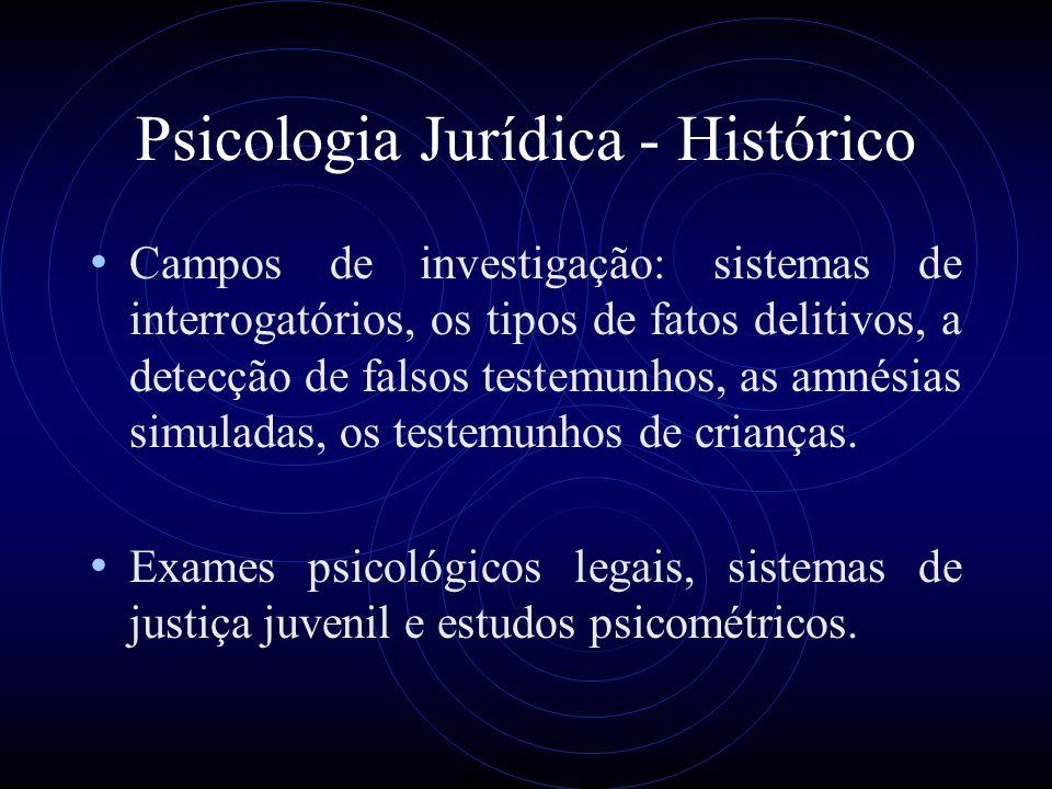 Psicologia Jurídica - Histórico Campos de investigação: sistemas de interrogatórios, os tipos de fatos delitivos, a detecção de falsos testemunhos, as