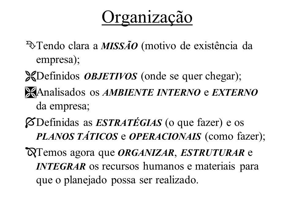 Organização ÊTendo clara a MISSÃO (motivo de existência da empresa); ËDefinidos OBJETIVOS (onde se quer chegar); ÌAnalisados os AMBIENTE INTERNO e EXT