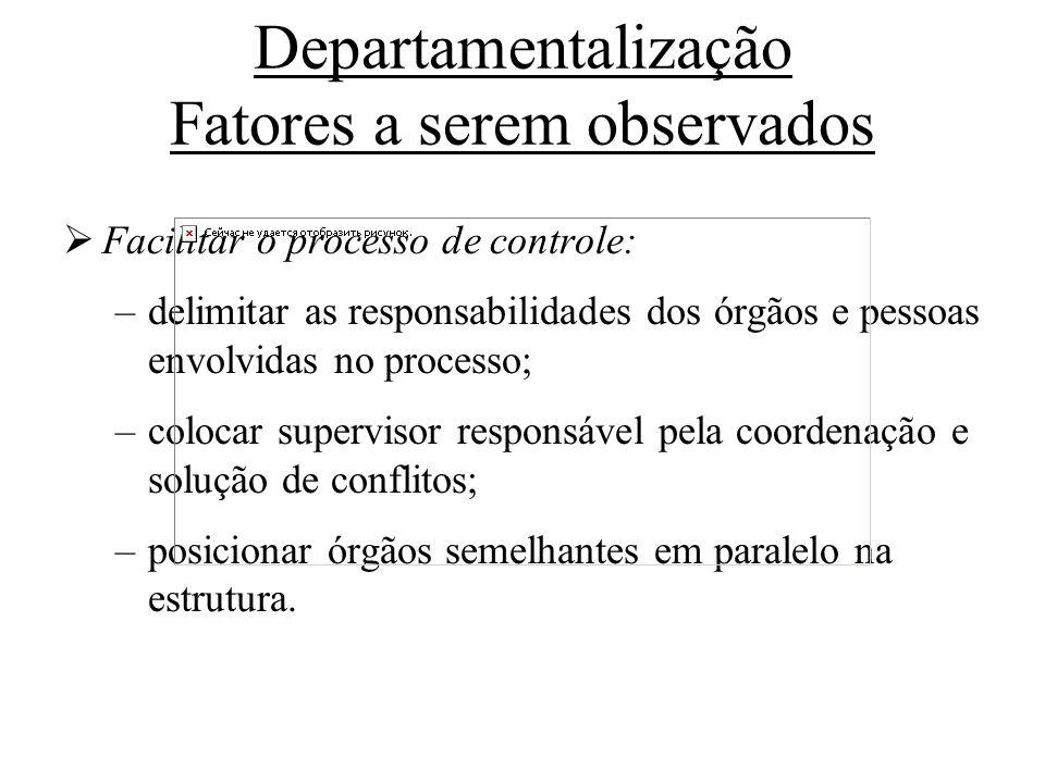 Departamentalização Fatores a serem observados Facilitar o processo de controle: –delimitar as responsabilidades dos órgãos e pessoas envolvidas no pr