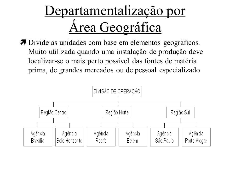 Departamentalização por Área Geográfica ìDivide as unidades com base em elementos geográficos. Muito utilizada quando uma instalação de produção deve