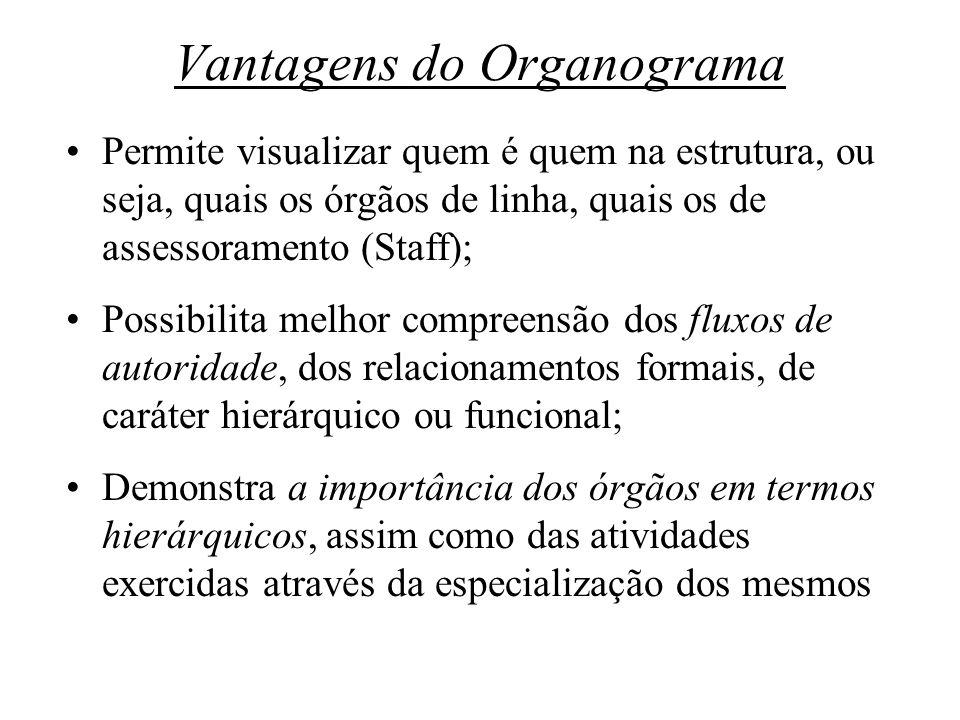 Vantagens do Organograma Permite visualizar quem é quem na estrutura, ou seja, quais os órgãos de linha, quais os de assessoramento (Staff); Possibili