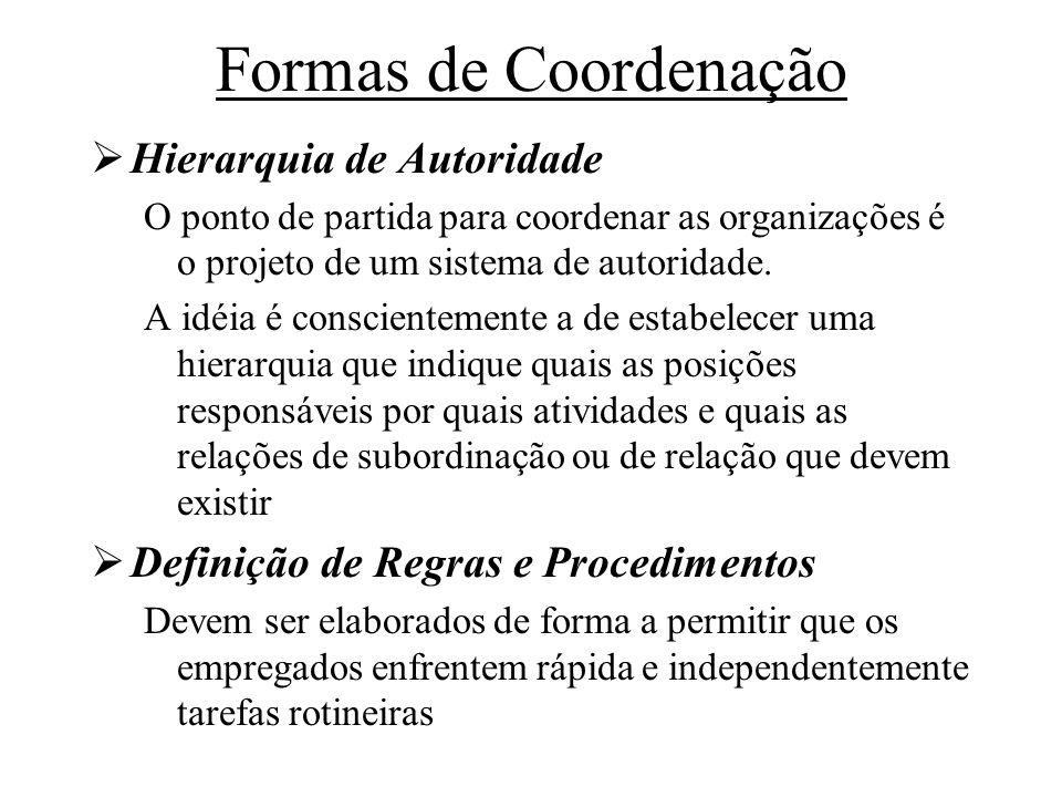 Formas de Coordenação Hierarquia de Autoridade O ponto de partida para coordenar as organizações é o projeto de um sistema de autoridade. A idéia é co