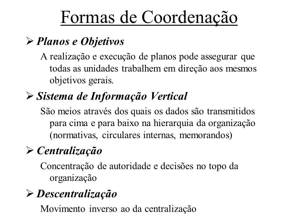 Formas de Coordenação Planos e Objetivos A realização e execução de planos pode assegurar que todas as unidades trabalhem em direção aos mesmos objeti