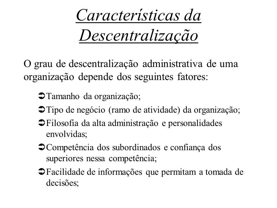Características da Descentralização O grau de descentralização administrativa de uma organização depende dos seguintes fatores: Tamanho da organização