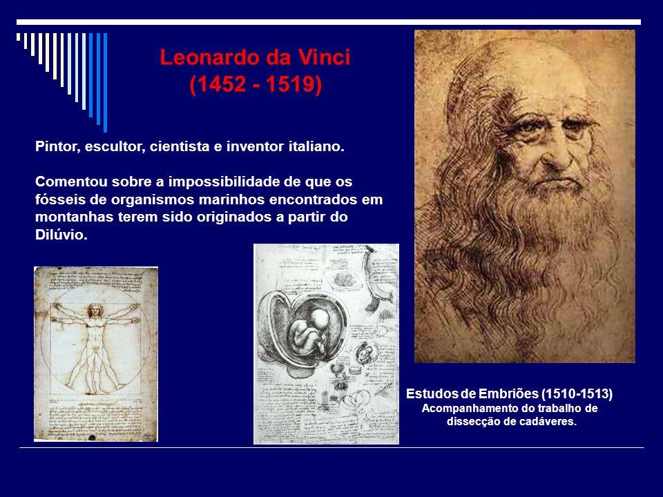 Leonardo da Vinci (1452 - 1519) Pintor, escultor, cientista e inventor italiano. Comentou sobre a impossibilidade de que os fósseis de organismos mari
