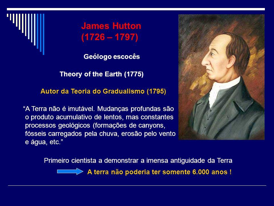 James Hutton (1726 – 1797) Geólogo escocês Autor da Teoria do Gradualismo (1795) A Terra não é imutável. Mudanças profundas são o produto acumulativo