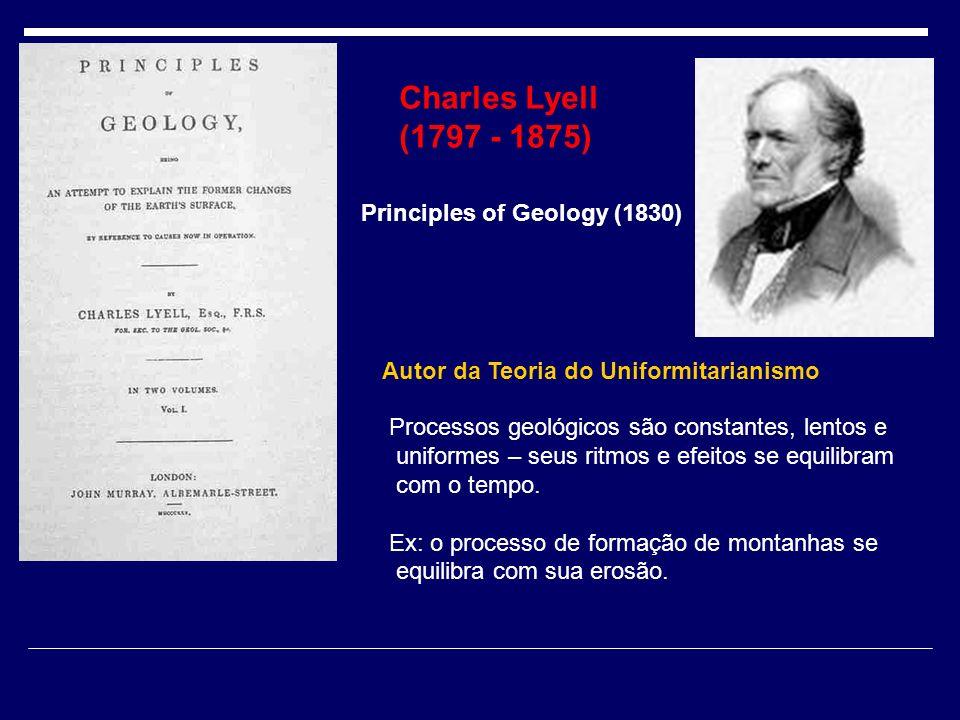 Charles Lyell (1797 - 1875) Principles of Geology (1830) Autor da Teoria do Uniformitarianismo Processos geológicos são constantes, lentos e uniformes