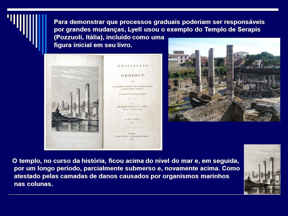 Para demonstrar que processos graduais poderiam ser responsáveis por grandes mudanças, Lyell usou o exemplo do Templo de Serapis (Pozzuoli, Itália), i