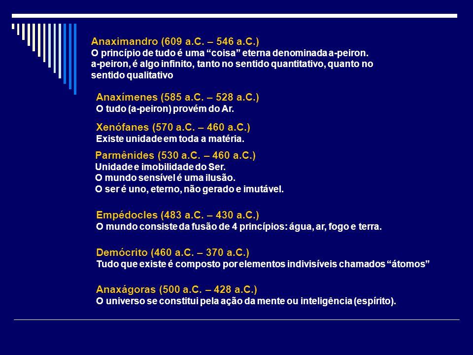 Anaximandro (609 a.C. – 546 a.C.) O princípio de tudo é uma coisa eterna denominada a-peiron. a-peiron, é algo infinito, tanto no sentido quantitativo