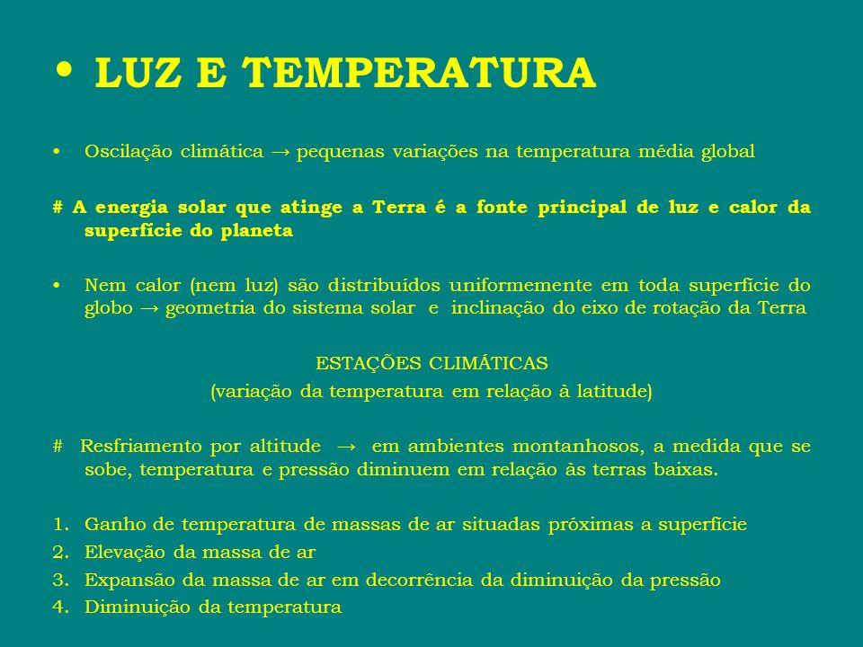LUZ E TEMPERATURA Oscilação climática pequenas variações na temperatura média global # A energia solar que atinge a Terra é a fonte principal de luz e