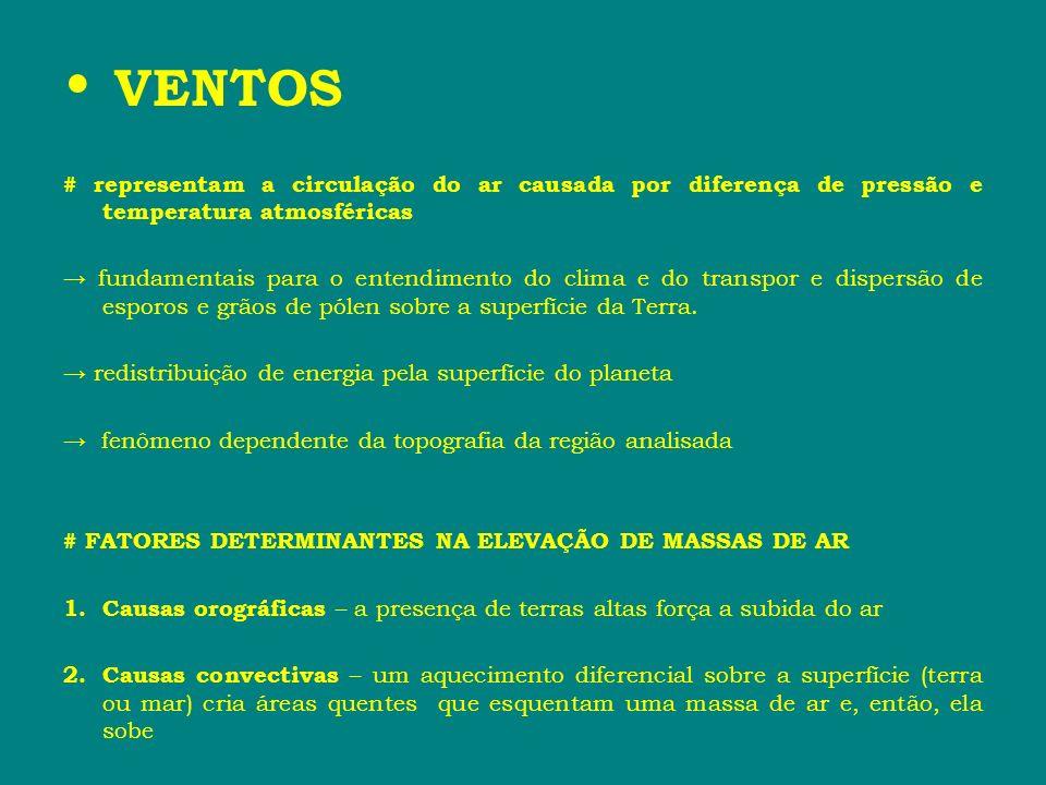 VENTOS # FATORES DETERMINANTES NA ELEVAÇÃO DE MASSAS DE AR 1.