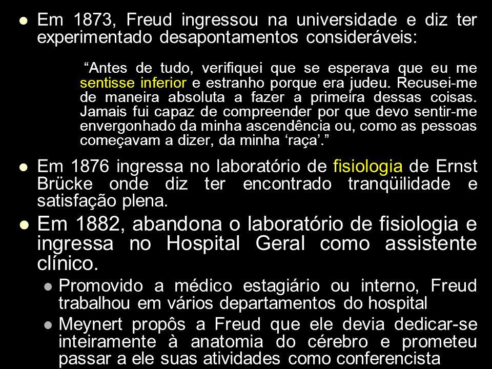 Em 1873, Freud ingressou na universidade e diz ter experimentado desapontamentos consideráveis: Antes de tudo, verifiquei que se esperava que eu me se